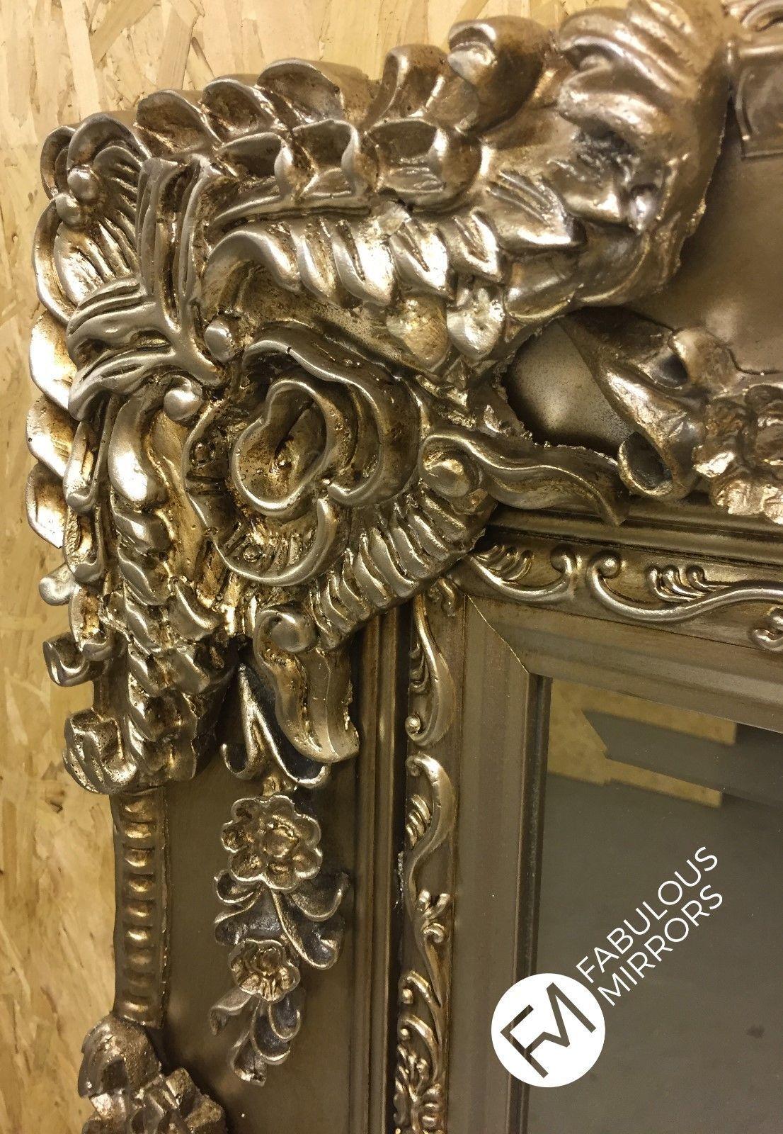 Large Antique Silver Ornate Regal Decorative Mirror